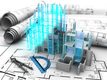 Building project. Abstract 3d illustration of building construction computer model over blueprints Royalty Free Stock Images