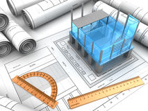 Building project. 3d illustration of modern building project and blueprints Royalty Free Stock Photos