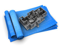 Building project. 3d illustration of rolled blueprints and concrete building model Royalty Free Stock Photography