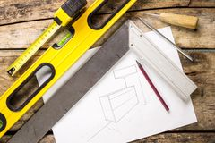 Building and project tools background. Stock Photos
