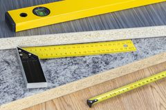 Building and project tools concept. Carpentry tools royalty free stock images