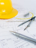 Building projects with architect drawing. And protective tools Stock Photos