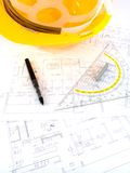 Building projects with architect drawing. And protective tools Royalty Free Stock Image