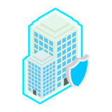 Building protect by shield icon, isometric 3d. Building protect by shield icon in isometric 3d style isolated on white background. Property insurance concept Royalty Free Stock Image