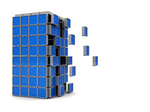 Building puzzle. Abstract 3d illustration of building construction over white background Stock Image