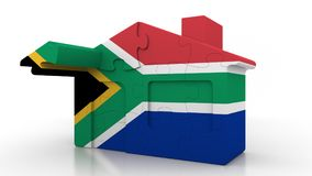 Building puzzle house featuring flag of South Africa. SAR emigration, construction or real estate market conceptual 3D. Building puzzle house featuring flag vector illustration