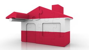 Building puzzle house featuring flag of Austria. Austrian emigration, construction or real estate market conceptual 3D. Building puzzle house featuring flag Stock Images