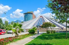 Building Pyramid former museum of communist dictator Enver Hoxha, Tirana, Albania Royalty Free Stock Photo
