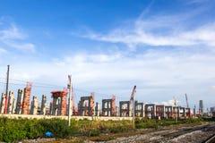 Building Railway SkyTrain Construction Site at Bangkok Thailand Royalty Free Stock Photos