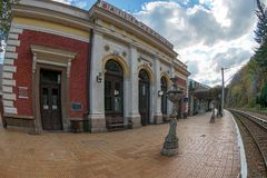 Building of the railway station Baile Herculane, Romania Royalty Free Stock Photos