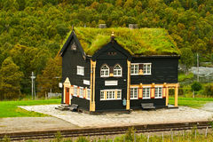 Building of railway station, Norway. Building of railway station in traditional Norwegian style with a grassy roof Stock Image