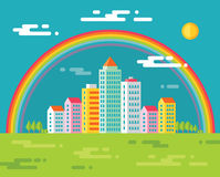 Building and rainbow in city - vector concept illustration in flat design style for presentation, booklet, web site and different Stock Images