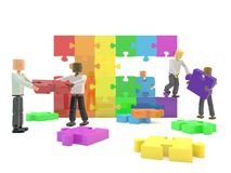 Building the rainbow flag. A team building the LGBT rainbow flag using jigsaw pieces Stock Images