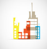 Building and real estate city illustration. Abstract background. For business presentation, sale, rent Stock Photography