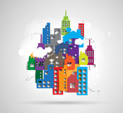 Building and real estate city illustration. Abstract background Royalty Free Stock Photos