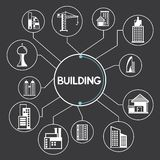 Building and real estate icons, infographic. In black background Stock Images