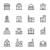 16 building and real estate. Line icons vector illustration