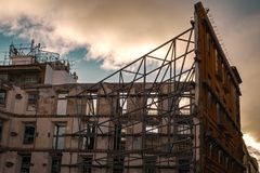 Building in reconstruction. On cloudy sky Royalty Free Stock Photo