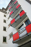 Building with red balconies Stock Photography