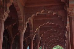A building in Red Fort complex. Pillars in one the buildings in Red Fort Complex Stock Images