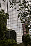 Building reflections. Two buildings reflected in the glass of another building, surrounded by trees in an overcast day in Portland Stock Images