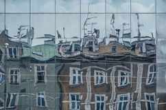 Building reflections on Ghetto Heroes Square, Krakow Royalty Free Stock Images