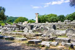 Building remains at ancient Olimpia archaeological site in Greece Royalty Free Stock Image