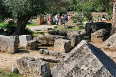 Building remains at ancient Olympia archaeological site in Greece Royalty Free Stock Photo
