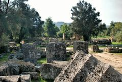 Building remains at ancient Olympia archaeological site in Greece Royalty Free Stock Photos