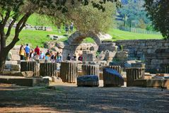 Building remains at ancient Olympia archaeological site in Greece Royalty Free Stock Images