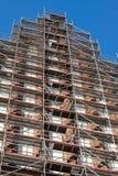 Building renovation - outside aluminum facade scaffolding Stock Photos