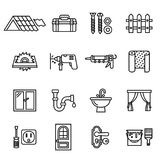Building, repair and home renovation icons set. royalty free stock photography