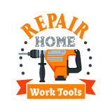 Building and repair tool badge with rotary hammer Stock Images