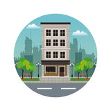 Building residential aparments street stamp Royalty Free Stock Image