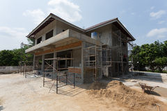Building residential construction house with scaffold steel Royalty Free Stock Images