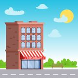 Building with a restaurant or a storefront on the first floor against a blue sky. Flat vector illustration. royalty free illustration