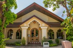 Building of the restaurant at the tropical island. In Maldives Royalty Free Stock Photography