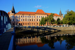 Building and river,ceske budejovice morning Stock Photography