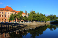 Building and river,ceske budejovice morning Royalty Free Stock Photos