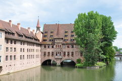 A building on river in Nurnburg Royalty Free Stock Photos