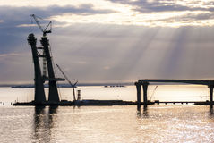 Building a road and a swing bridge in the sea... Royalty Free Stock Photography