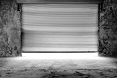 Building with roller shutter door Royalty Free Stock Photography