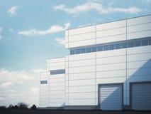 Building with roller shutter doors. 3d rendering Stock Photo