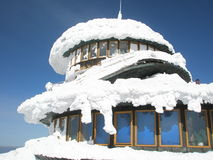 Building roof colapsed under the snow stock image
