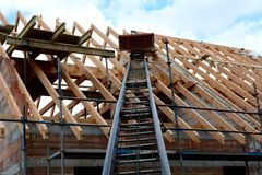Building a roof truss Stock Photography
