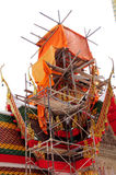 Building roof of wat. A man has been building this wat Stock Photography