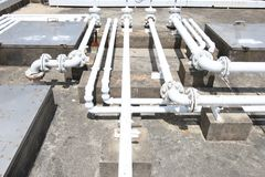 Building rooftop pipelines Stock Images
