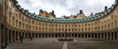 The building with a round courtyard in the Swedish capital. In Stockholm, there are many interesting buildings. Stock Images