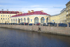The building of the Round market architect Quarenghi on the embankment of the Moika river. St. Petersburg Royalty Free Stock Photo