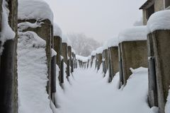 Building rubble in the snow Royalty Free Stock Photography